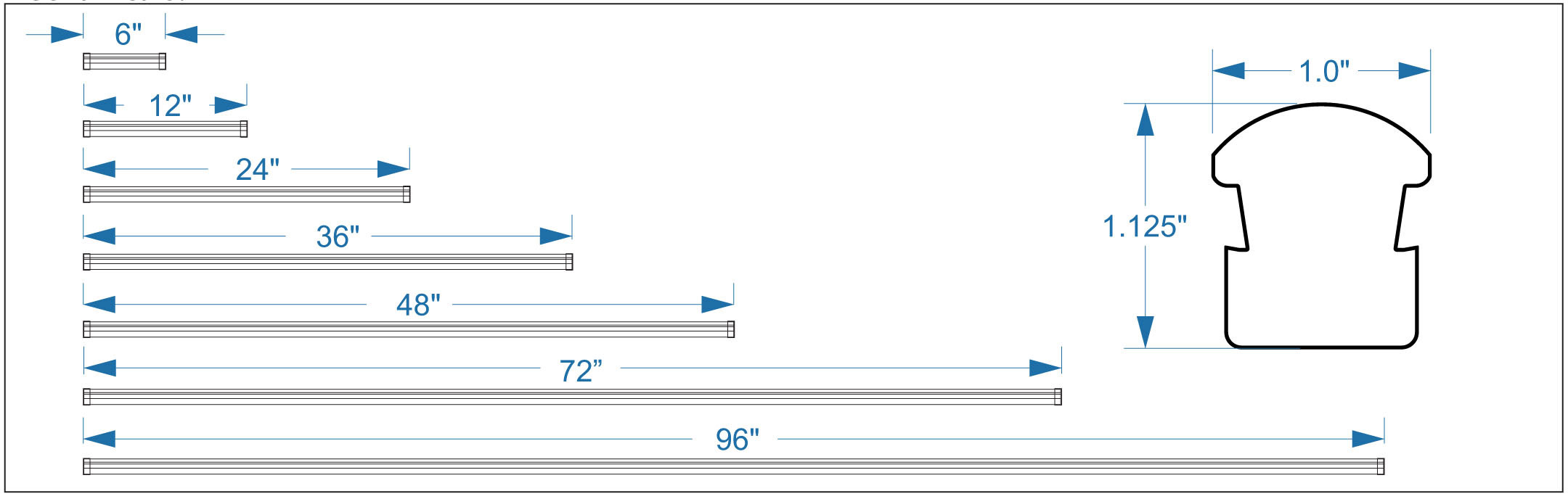 LED Border Tube Mechanical Drawing